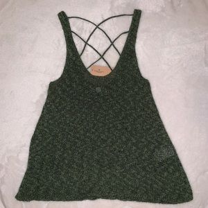 Cross back sweater tank top